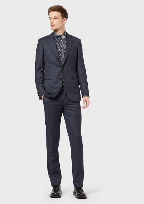 Full-canvas, slim-fit Manhattan Collection suit with micro pattern
