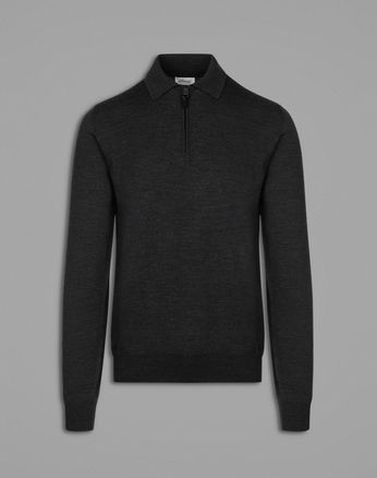 Black Long-Sleeved Polo Shirt.