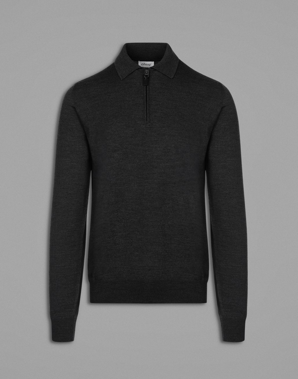 BRIONI Black Long-Sleeved Polo Shirt Knitwear Man f