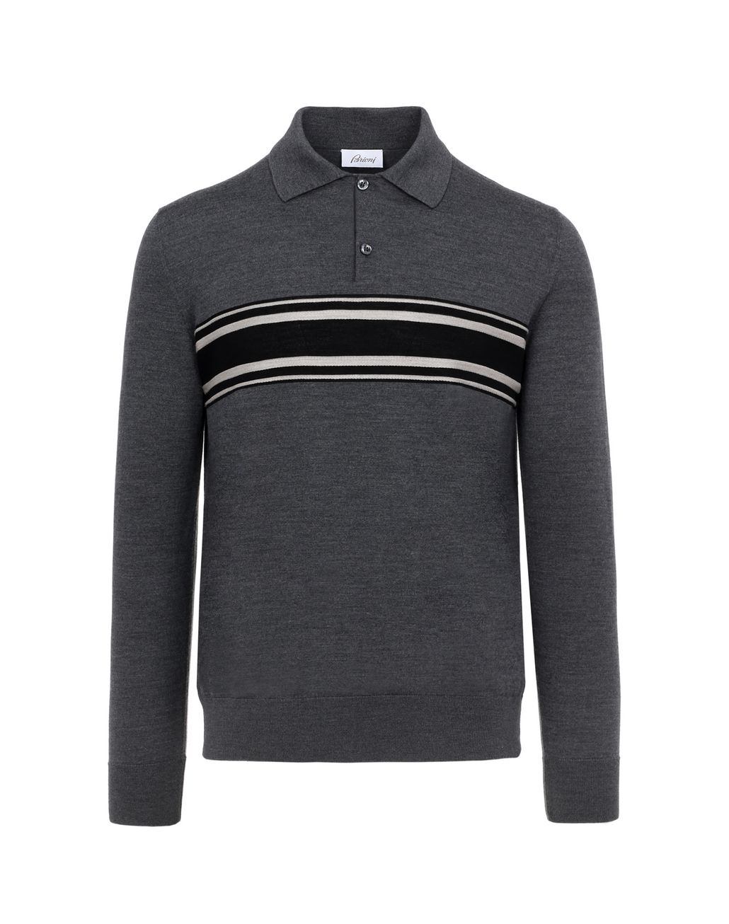 BRIONI Gray Jacquard Polo Knitwear Man f