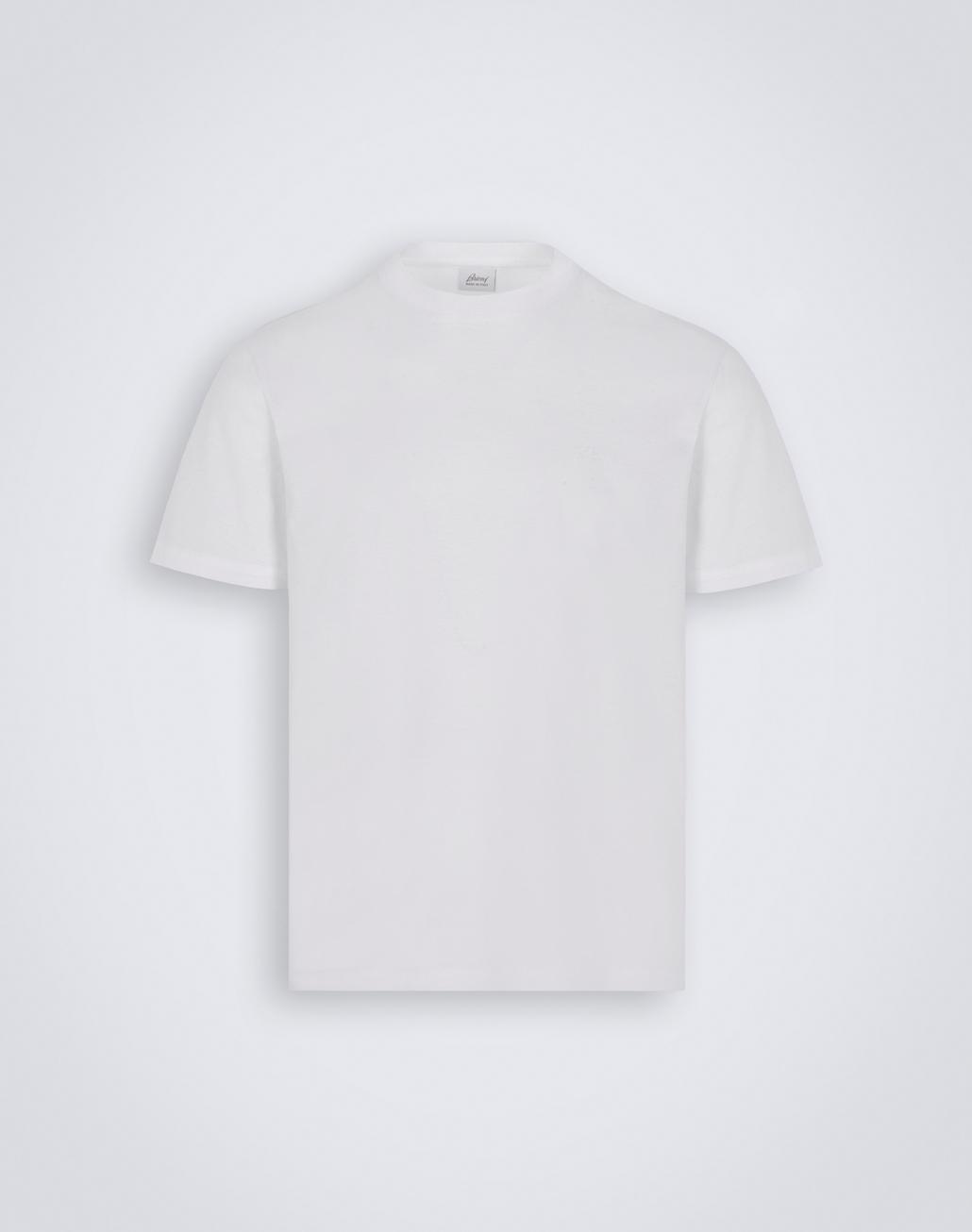 BRIONI White Crewneck T-Shirt. T-Shirts & Polos Man f