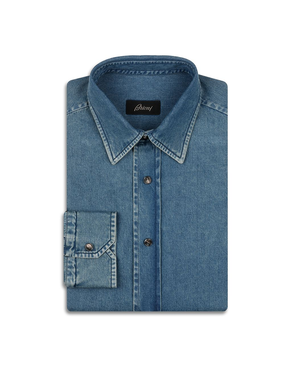 BRIONI Blue Denim Shirt Leisure shirt Man f