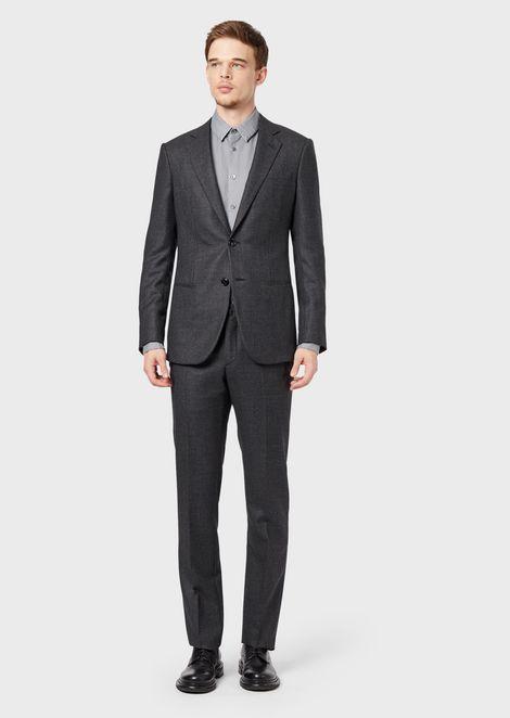 Full-canvas, slim-fit Manhattan Collection suit in melange fabric