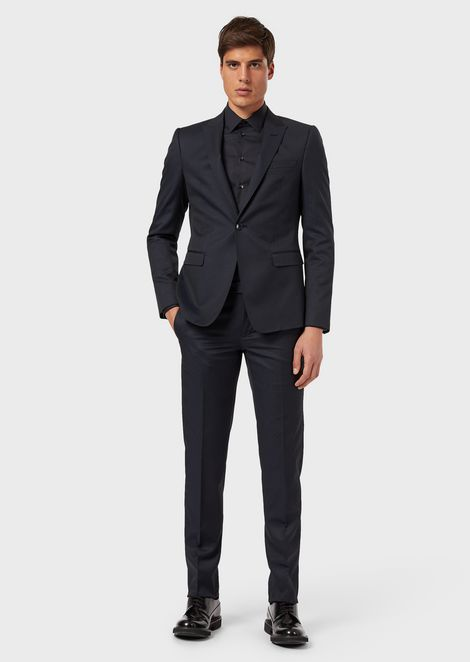 Single-breasted suit in micro-pattern supreme wool