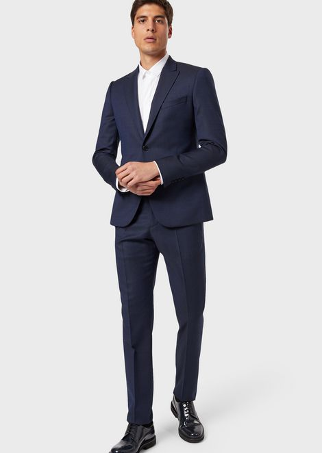 Single-breasted, slim-fit suit in textured light wool