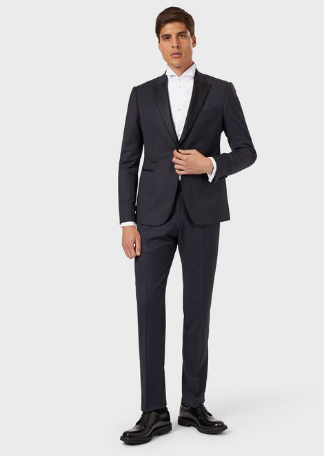 Stretch cool wool tuxedo with single-breasted jacket featuring silk satin lapels