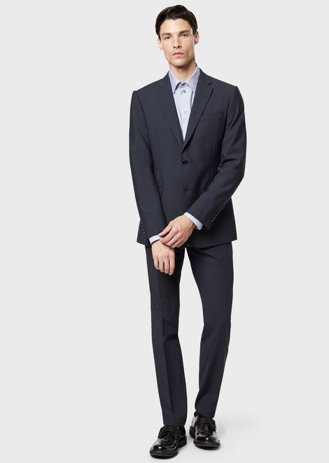 Single-breasted modern-fit suit made of stretch light wool with a micro-check pattern