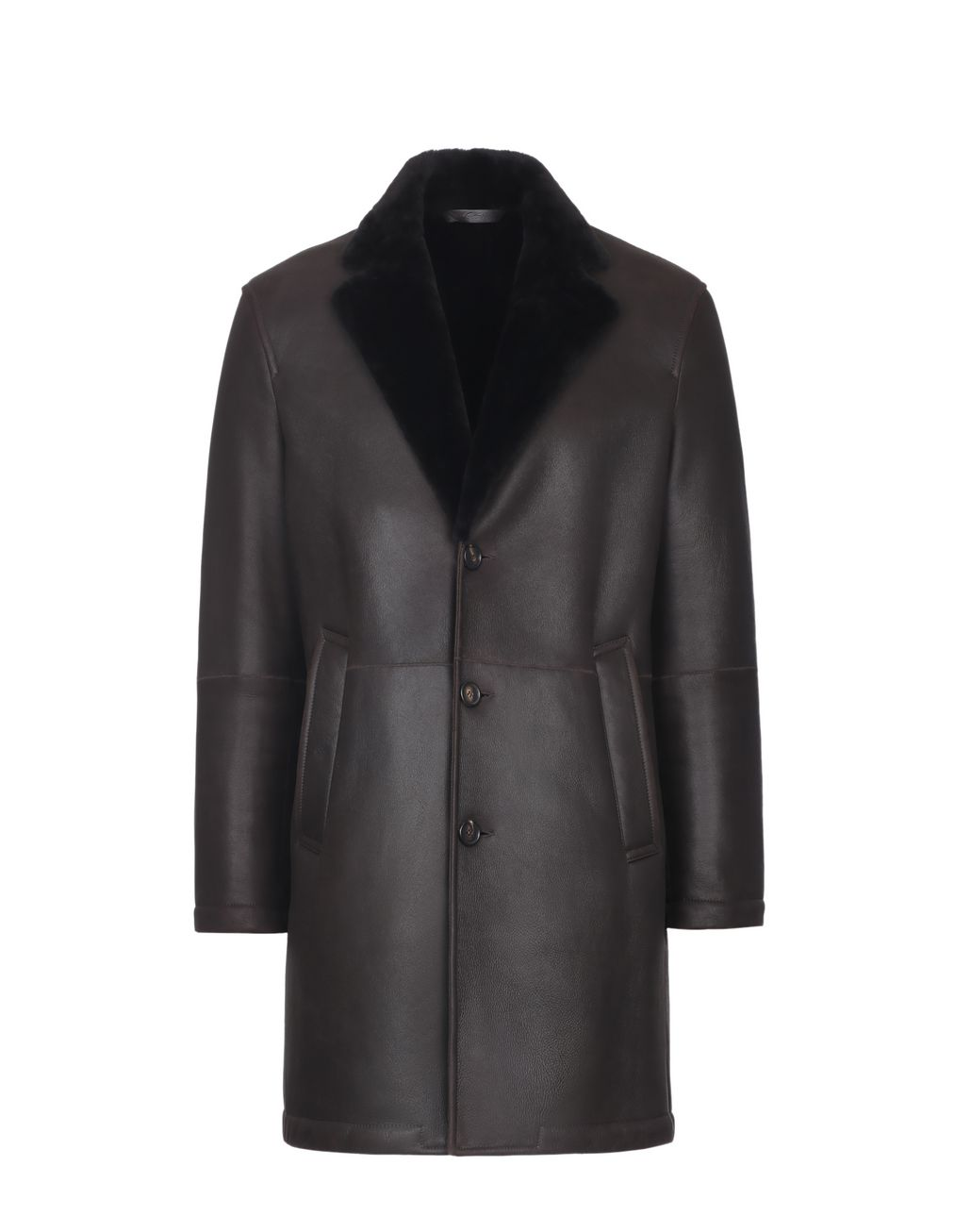 BRIONI Brown Single-Breasted Coat Outerwear Man f