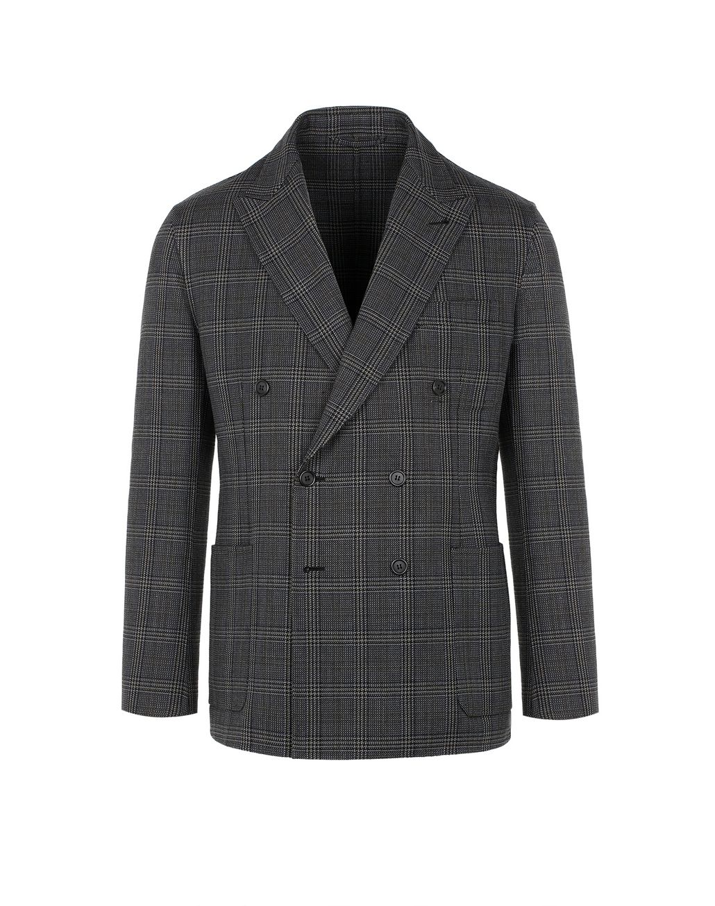 BRIONI Grey Double-Breasted Jacket Suits & Jackets Man f