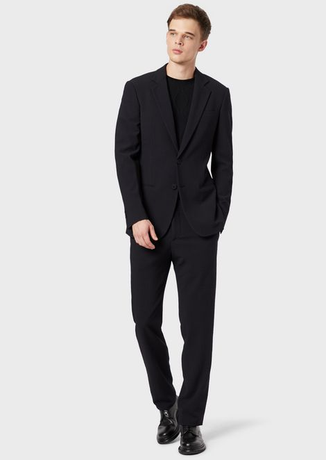 Slim-fit, half-canvas suit from the Soho range in seersucker fabric