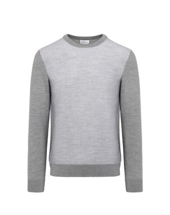 Grey Herringbone Jacquard Sweater