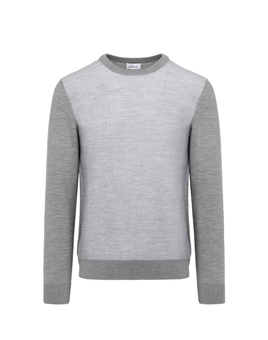BRIONI Grey Herringbone Jacquard Sweater Knitwear Man f