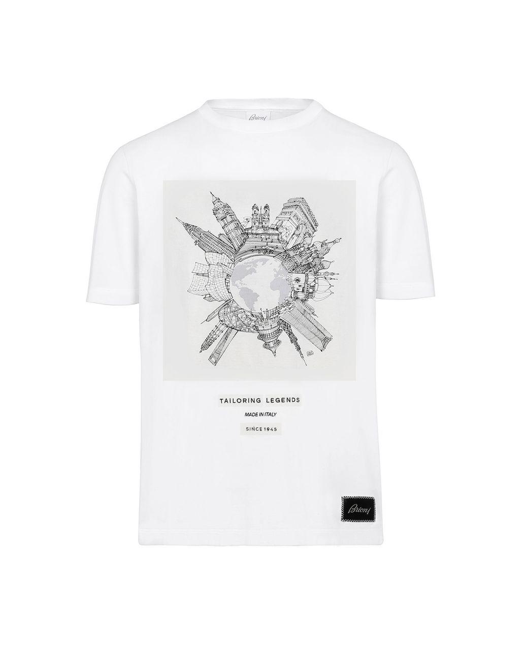 BRIONI White Printed T-Shirt T-Shirts & Polos Man f