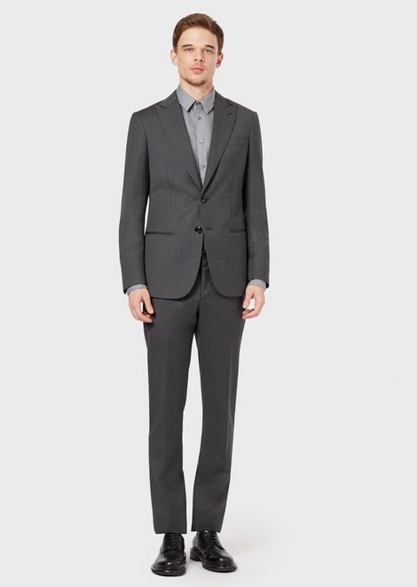 Slim-fit, half-canvas suit from the Soho range in mouliné fabric