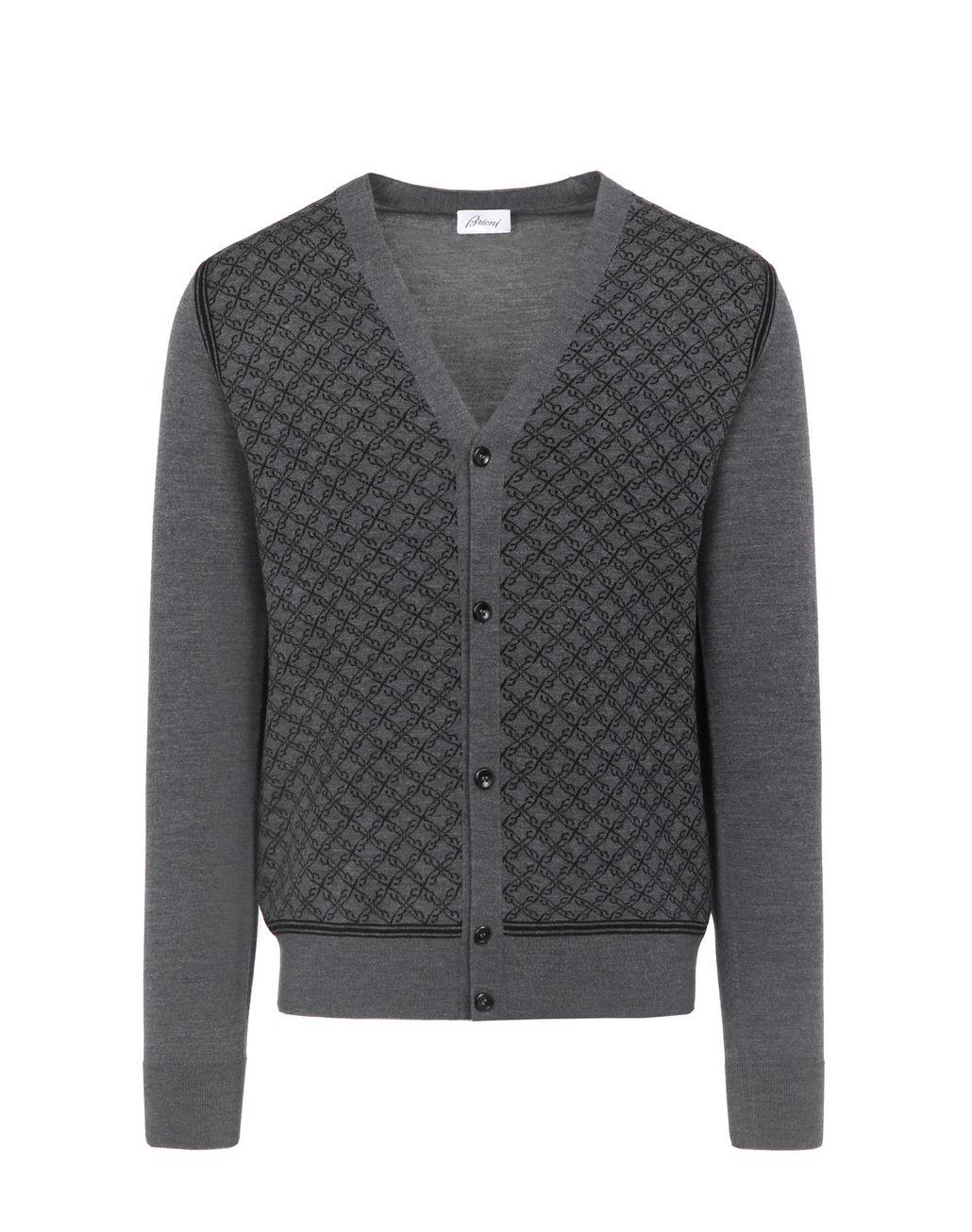 BRIONI Gray Jacquard Cardigan Knitwear Man f