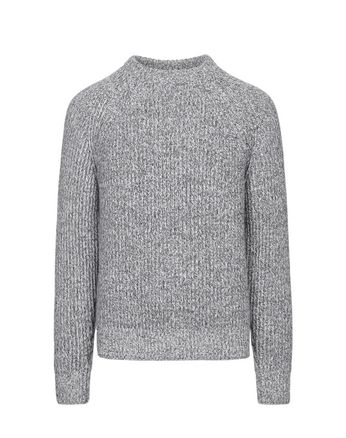 Gray Mouliné Crew-Neck Sweater