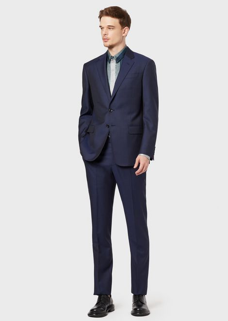 Soft Collection single-breasted suit in pinstriped wool twill