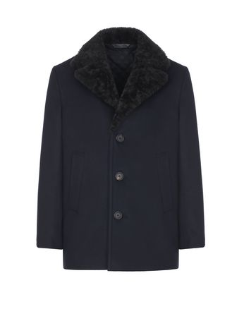Blue Caban with Shearling Collar