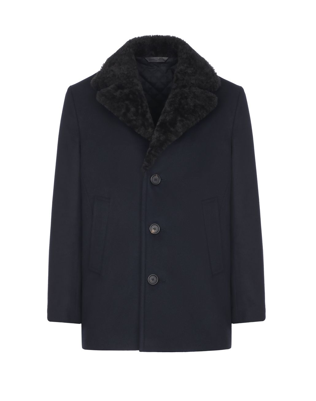 BRIONI Blue Caban with Shearling Collar Coats & Raincoats Man f