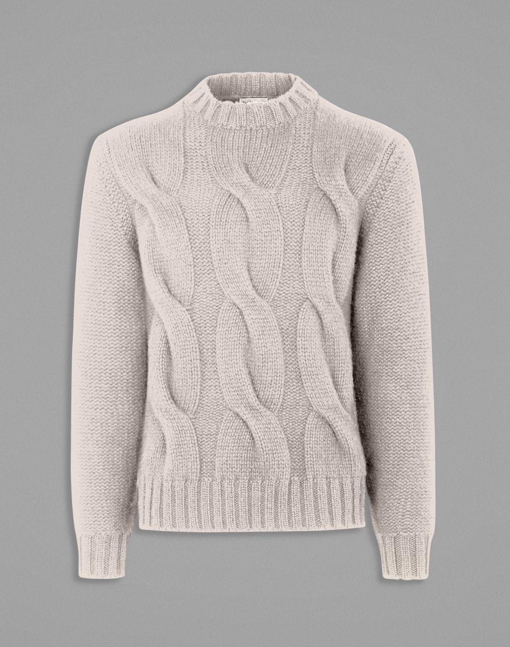 BRIONI White Cable Knit Sweater Knitwear Man f