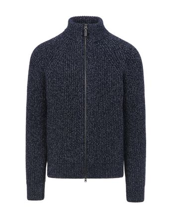 Blue Mouliné Full Zipper Sweater