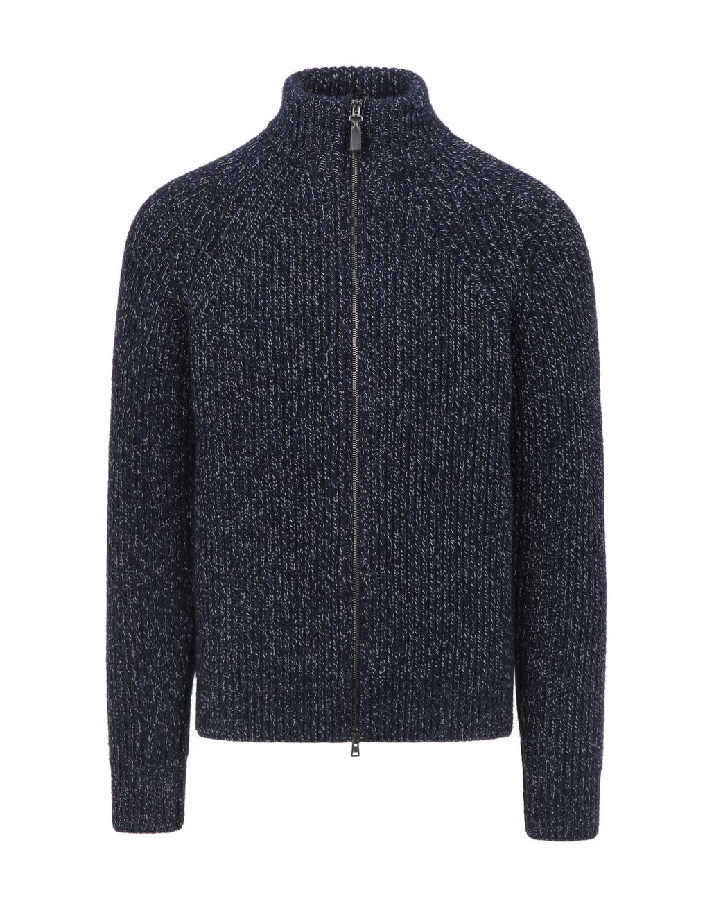 BRIONI Blue Mouliné Full Zipper Sweater Knitwear Man f