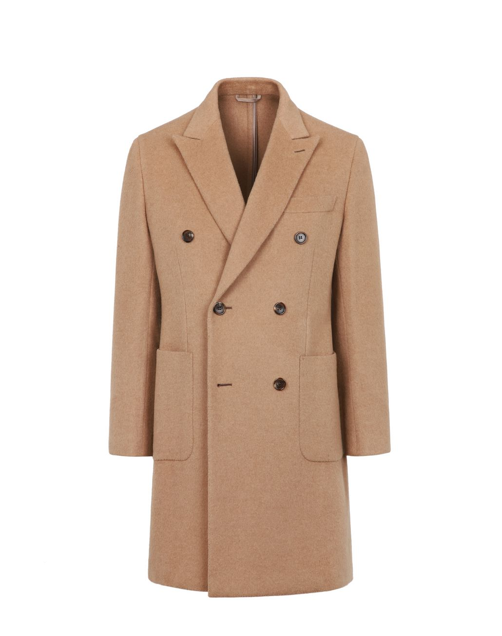 BRIONI Camel Double-Breasted Overcoat Coats & Raincoats Man f