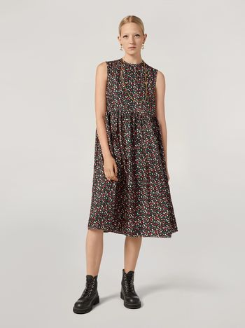 Marni Empire-cut dress in silk twill Liz print Woman f