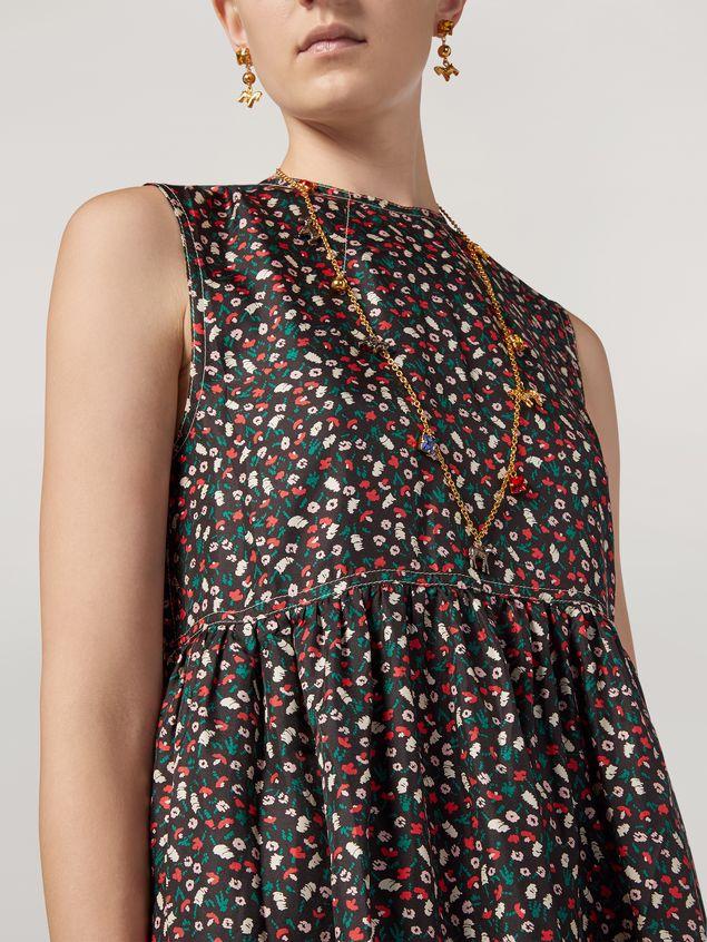 Marni Empire-cut dress in silk twill Liz print Woman - 4