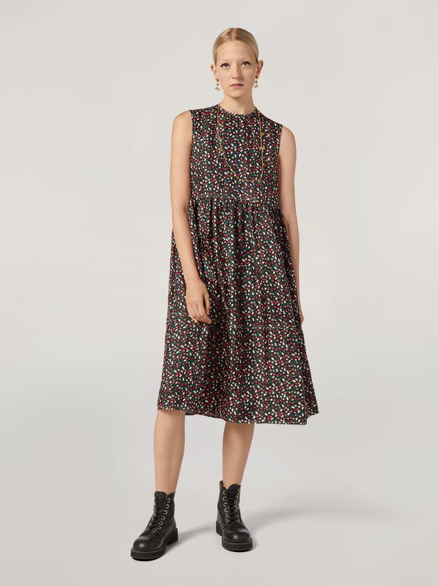 Marni Empire-cut dress in silk twill Liz print Woman - 1