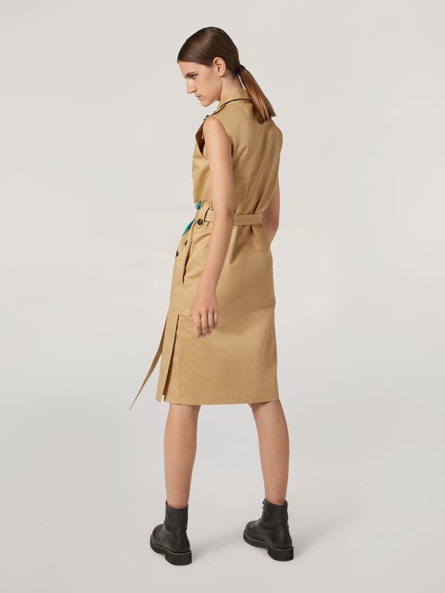 Marni Kleid aus Baumwoll-Leinen-Drillich mit Jungle Liz-Print und Gürtel Damen