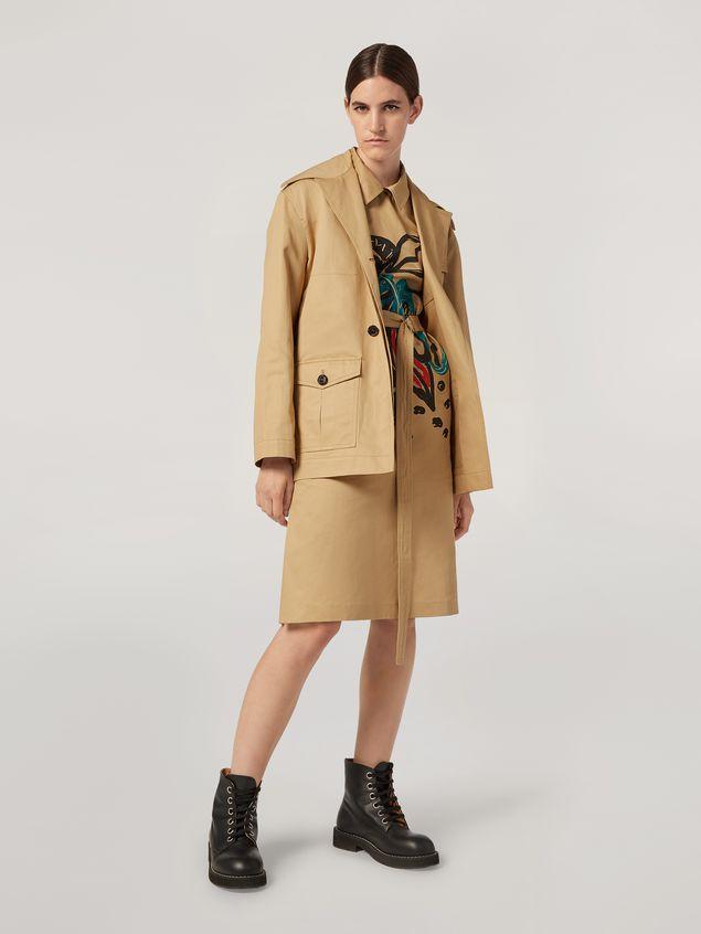 Marni Kleid aus Baumwoll-Leinen-Drillich mit Jungle Liz-Print und Gürtel Damen - 1