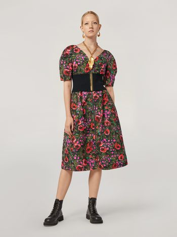 Marni Puffy-sleeved dress in faille Amarcord print Woman f