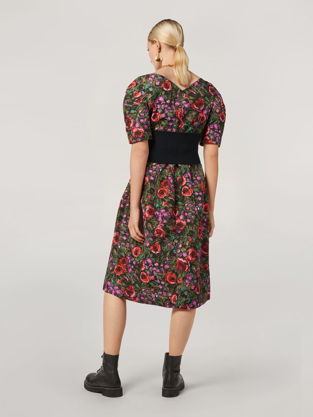 Marni Puffy-sleeved dress in faille Amarcord print Woman
