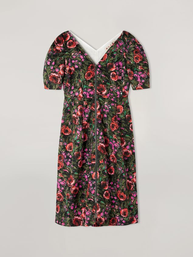 Marni Puffy-sleeved dress in faille Amarcord print Woman - 2