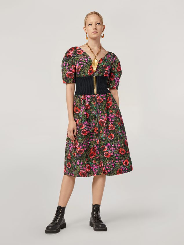 Marni Puffy-sleeved dress in faille Amarcord print Woman - 1