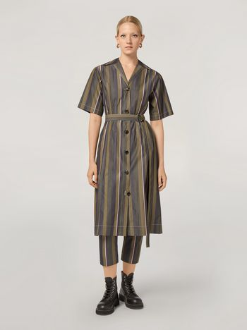Marni Dress in yarn-dyed striped poplin with long belt Woman f