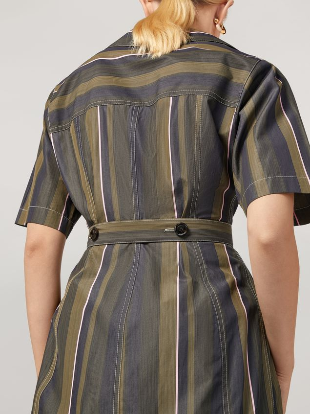 Marni Dress in yarn-dyed striped poplin with long belt Woman - 5