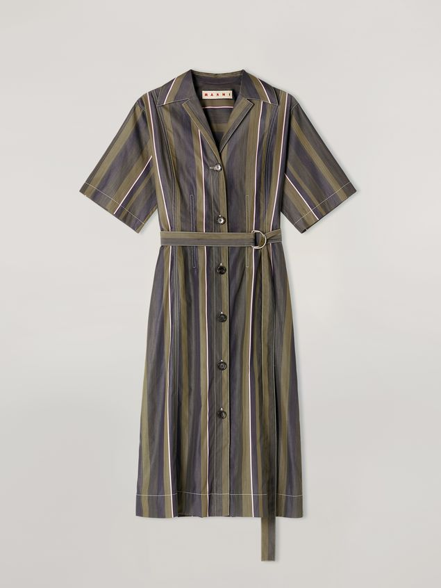 Marni Dress in yarn-dyed striped poplin with long belt Woman - 2