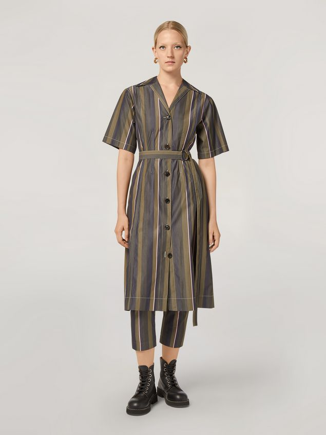 Marni Dress in yarn-dyed striped poplin with long belt Woman - 1