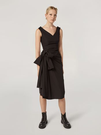 Marni Dress in cotton poplin with lateral bow Woman f