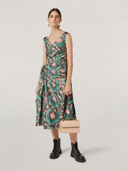 Marni Dress in cotton poly chiné with lateral bow Woman