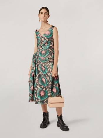 Marni Dress in cotton poly chiné with lateral bow Woman f
