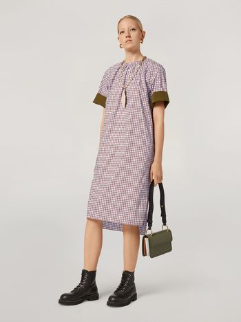 Marni Dress in cotton poplin Hive print with contrast turn-ups Woman f