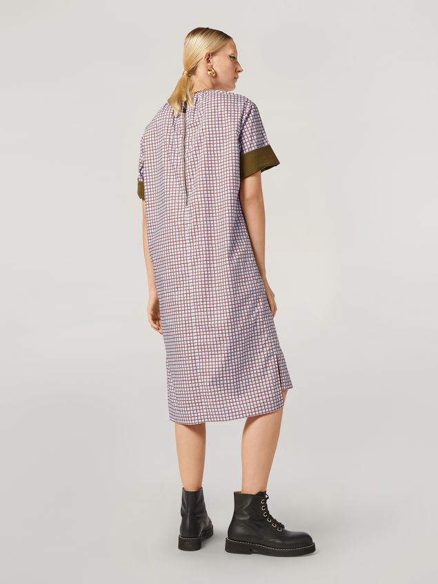 Marni Dress in cotton poplin Hive print with contrast turn-ups Woman