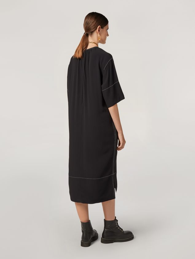 Marni Dress in crepe envers satin with contrast topstitching Woman