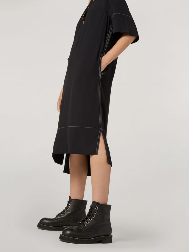 Marni Dress in crepe envers satin with contrast topstitching Woman - 5
