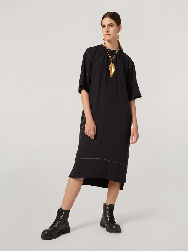 Marni Dress in crepe envers satin with contrast topstitching Woman - 1