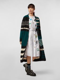Marni Faces print belted dress in cotton poplin Woman