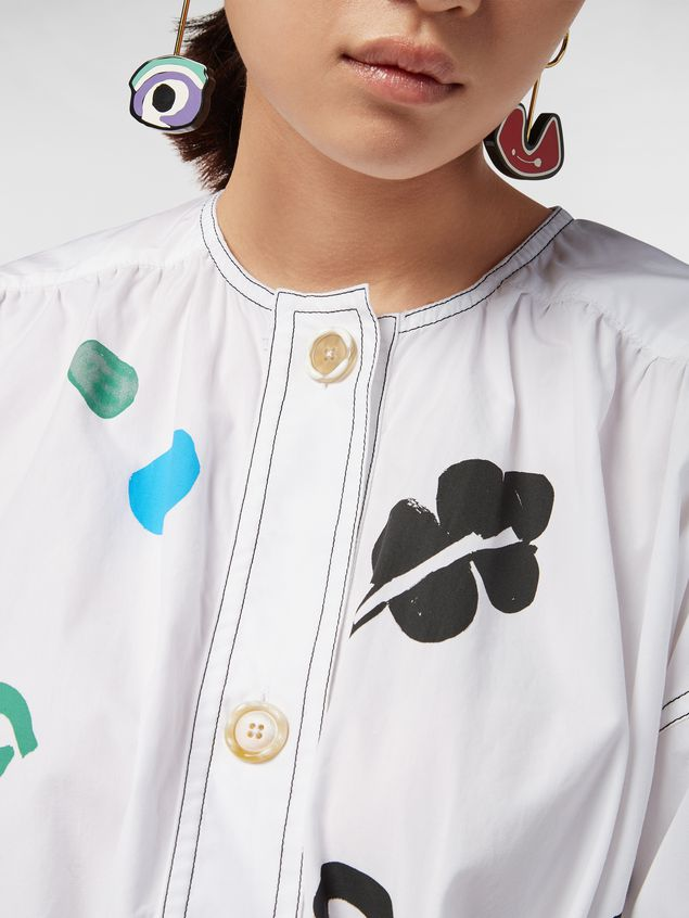 Marni Belted dress in cotton poplin Faces print Woman - 4